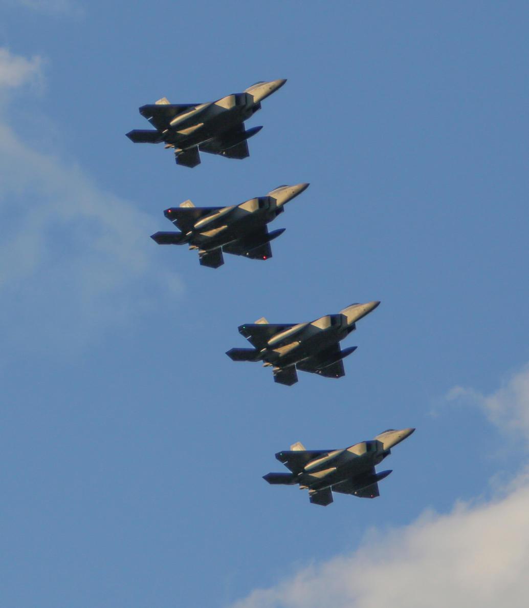 Lockheed Martin F-22 Raptors.