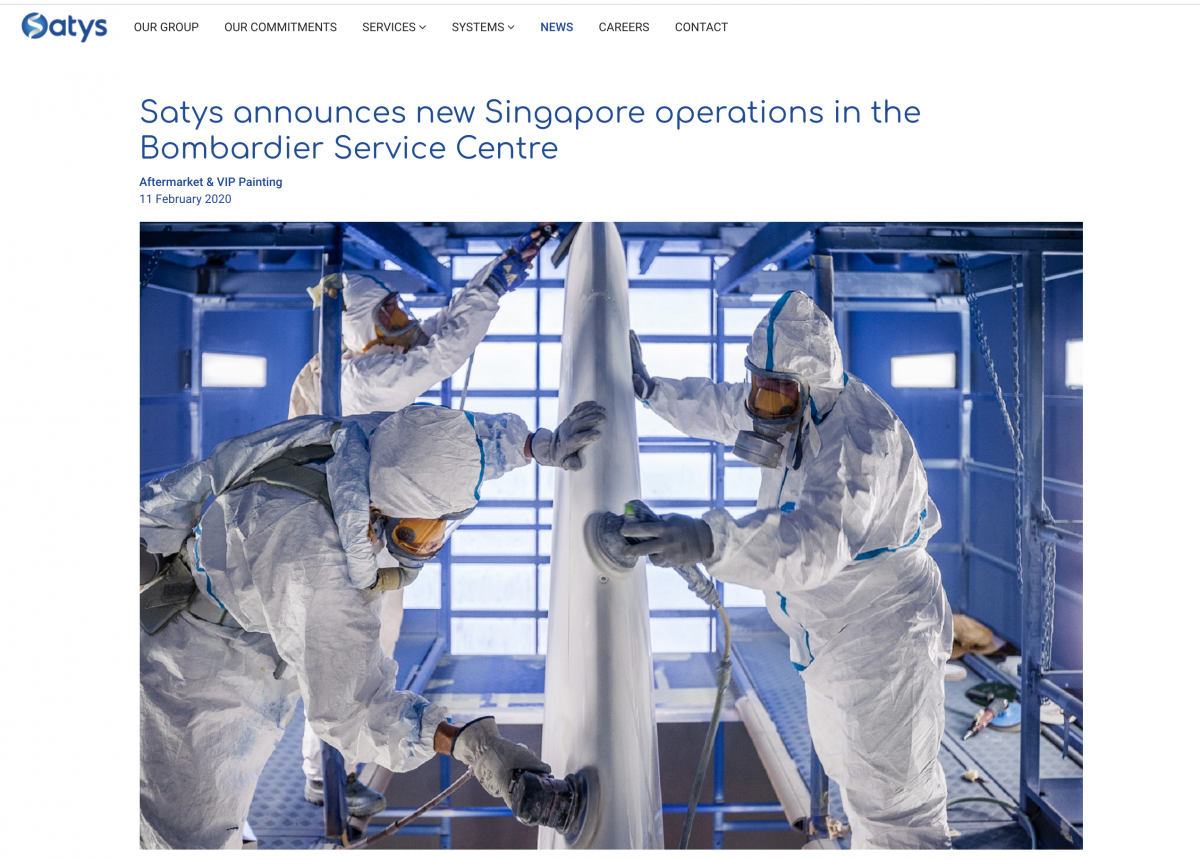 Satys announces new Singapore operations in the Bombardier Service Centre at Singapore Airshow.