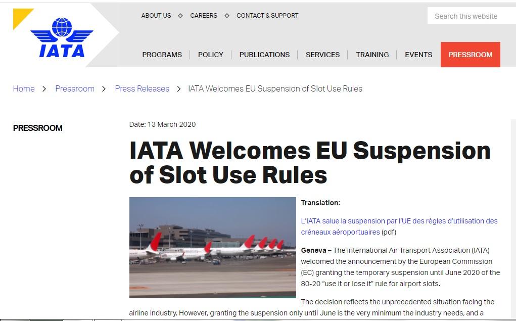 IATA Welcomes EU Suspension of Slot Use Rules