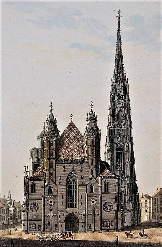 La cathédrale Saint Etienne de Vienne (en 1830) où débuta le jeune Joseph Haydn