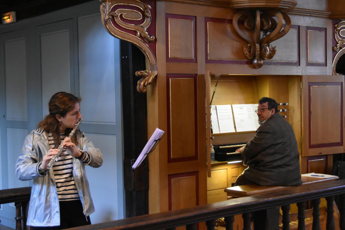 Accompagnement orgue et flüte traversière, Philippe et Yaëlle