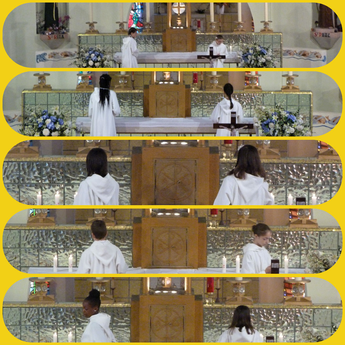 Puis les enfants ont déposé leur cierge auprès du Tabernacle