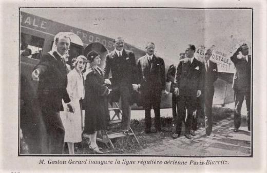 Inauguration ligne Paris -Biarritz Parme août 1930 par Gaston Gérard Ht Commissaire tourisme (2).png