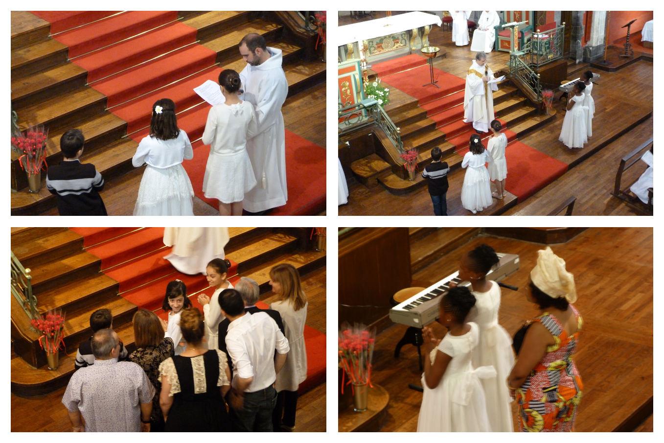 Les 5 futurs baptisés font leur demande puis sont rejoins par leur parrains et marraines