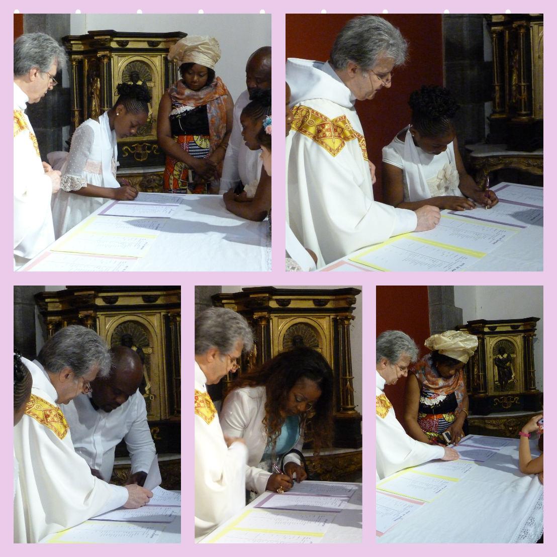 Signatture des registres de baptême : Ryanna et Adriana