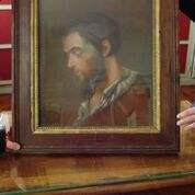 Très belle peinture du visage de saint Labre que nous gardions à la sacristie