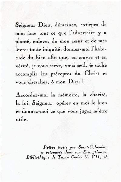 Prière de saint Colomban