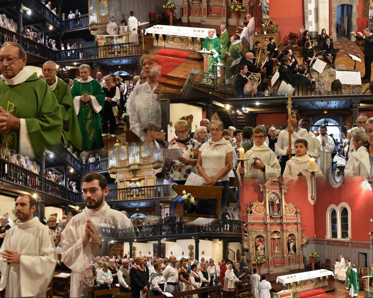 La procession d'entrée avec l'orchestre intercommunal d'harmonie jusqu'à la demande de pardon en regardant la Croix