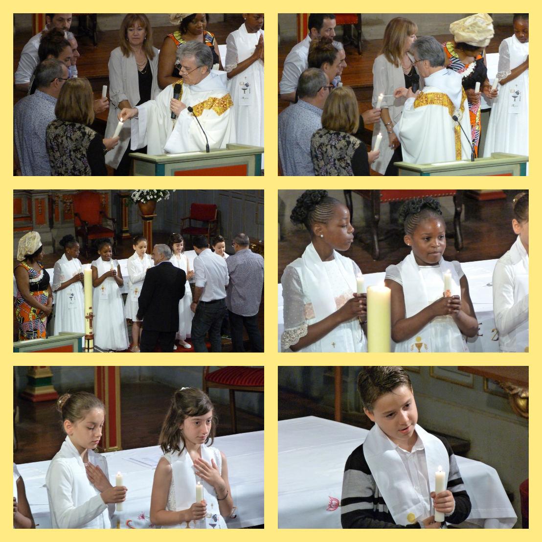 Le prêtre allume, depuis le cierge pascal, les cierges que les parrains vont remettre à leur filleul(e)