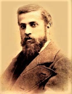 """Antoni Gaudi à l'époque où il a reprit le chantier. """"C'est ainsi que toute son œuvre est marquée par ce qui furent les quatre passions de sa vie : l'architecture, la nature, la religion et l'amour de la Catalogne"""""""