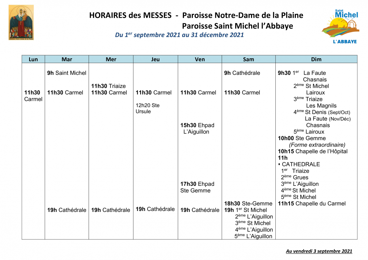 HORAIRES MESSES- Luçon_St michel au 1 septembre- Année 2021.jpg