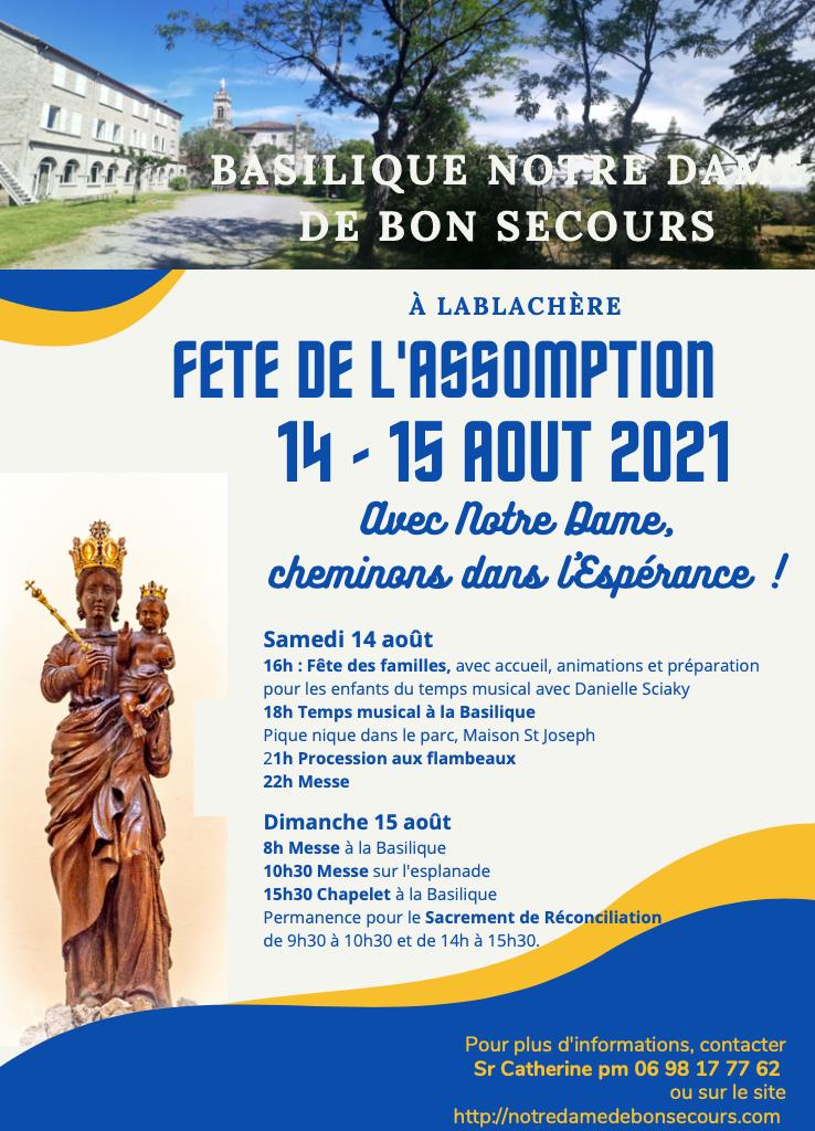 Fête du 15 Août 2021 : Deux jours de rencontres et de prière
