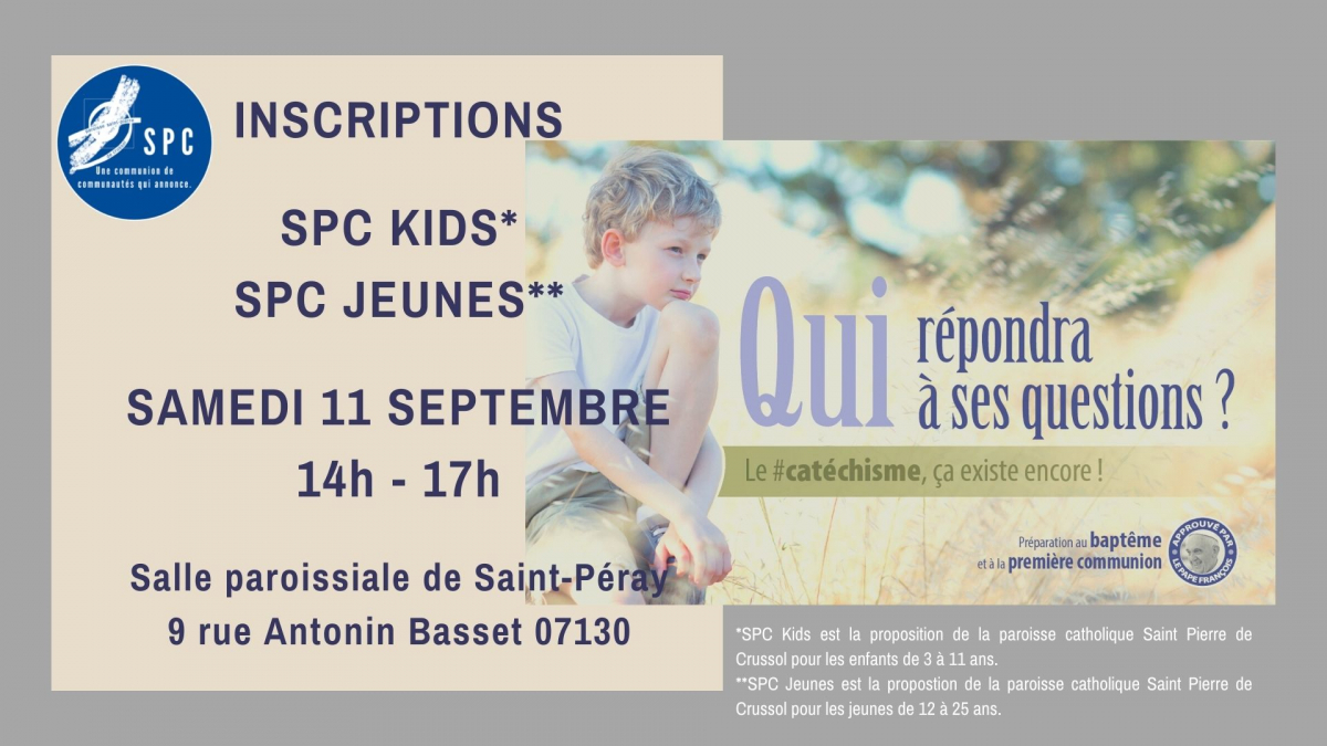 Samedi 11 septembre : Inscriptions SPC Kids et SPC Jeunes
