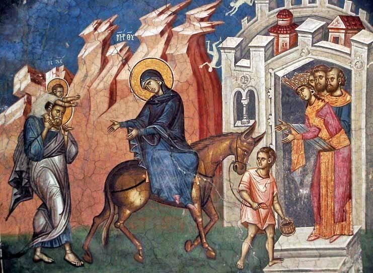 St Joseph - Retour du voyage en Egypte,fresque,14ès,monastère Visoki Decani,Serbie