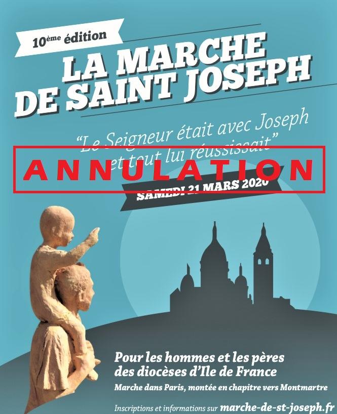 LA MARCHE DE SAINT JOSEPH 2020 N'AURA PAS LIEU