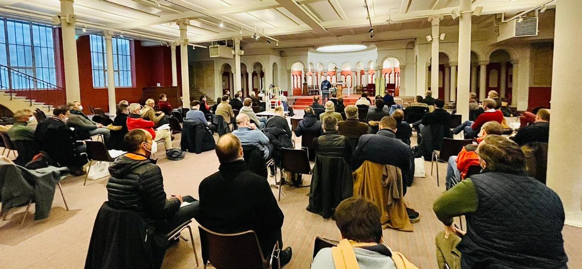 Enseignement sur le thème de la Marche de Saint Joseph 2021 ('Chastes avec Saint Joseph'), lors de la journée de récollection des chefs de chapitres