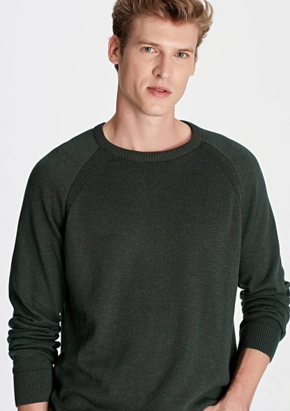 پلیور بافت سبز مردانه ماوی