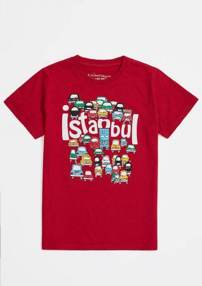 تی شرت نخی طرحدار قرمز ماوی