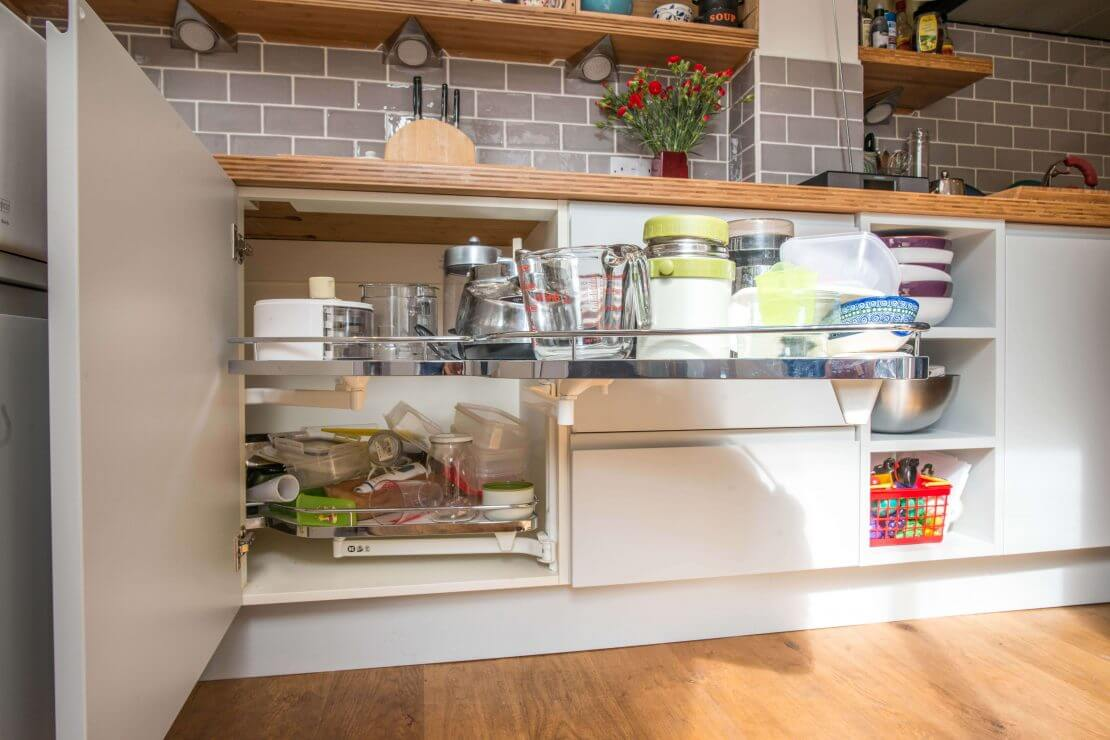 corner pullout in compact kitchen