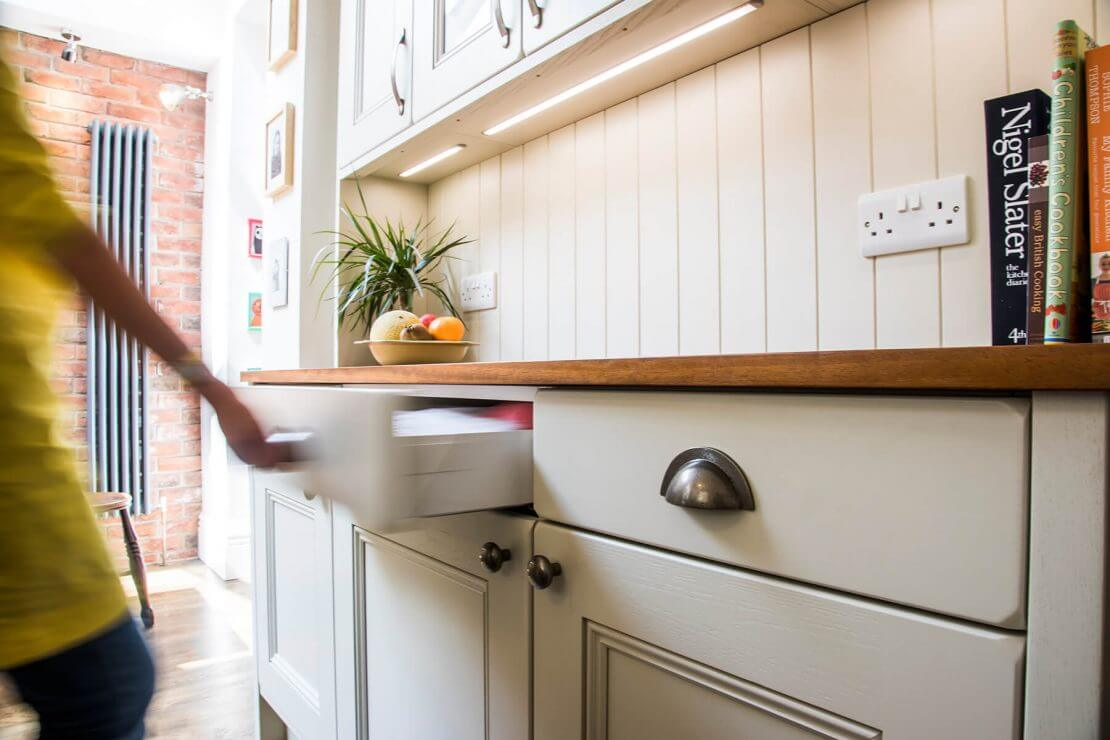 dresser with reclaimed timber in new kitchen