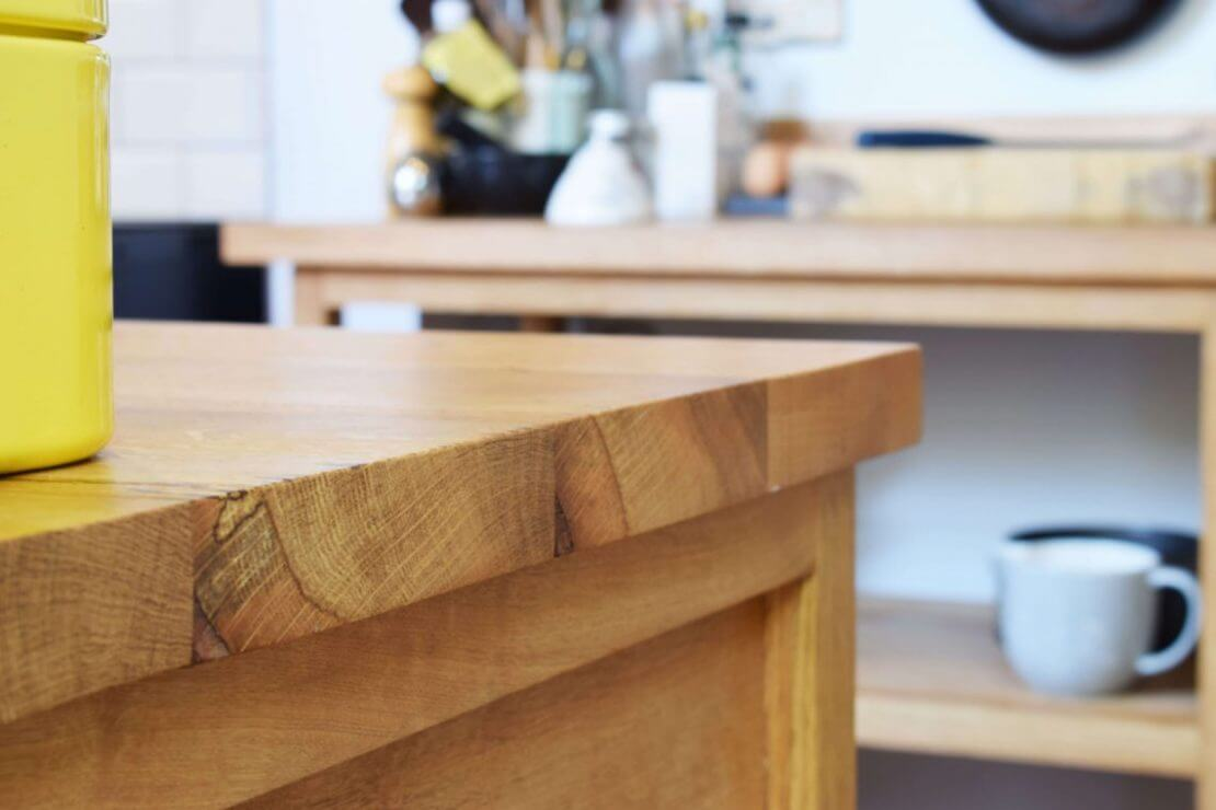 new kitchen with solid oak worktop timber detail