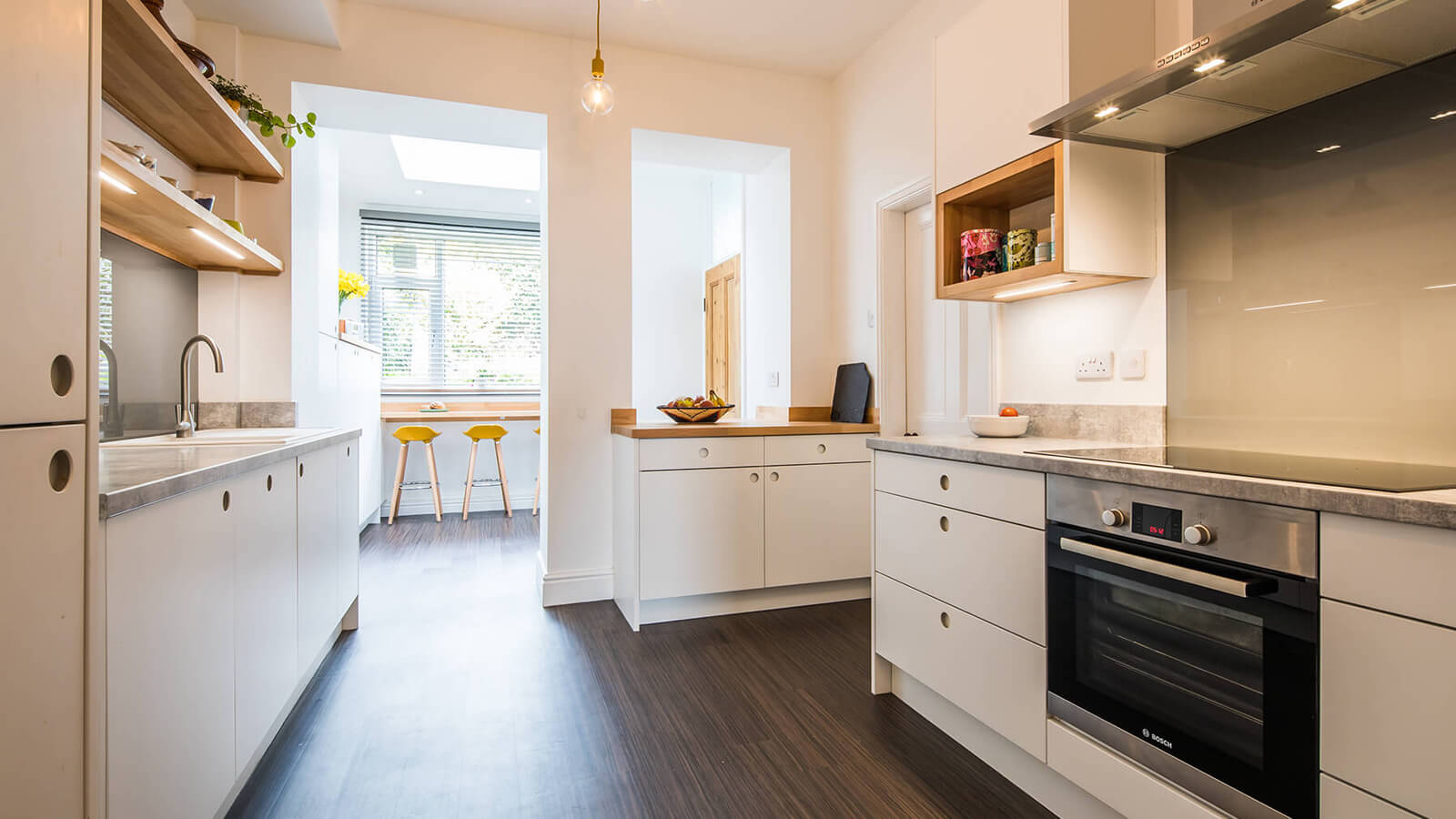 scandi kitchen with white slab doors - Sheffield Sustainable Kitchen