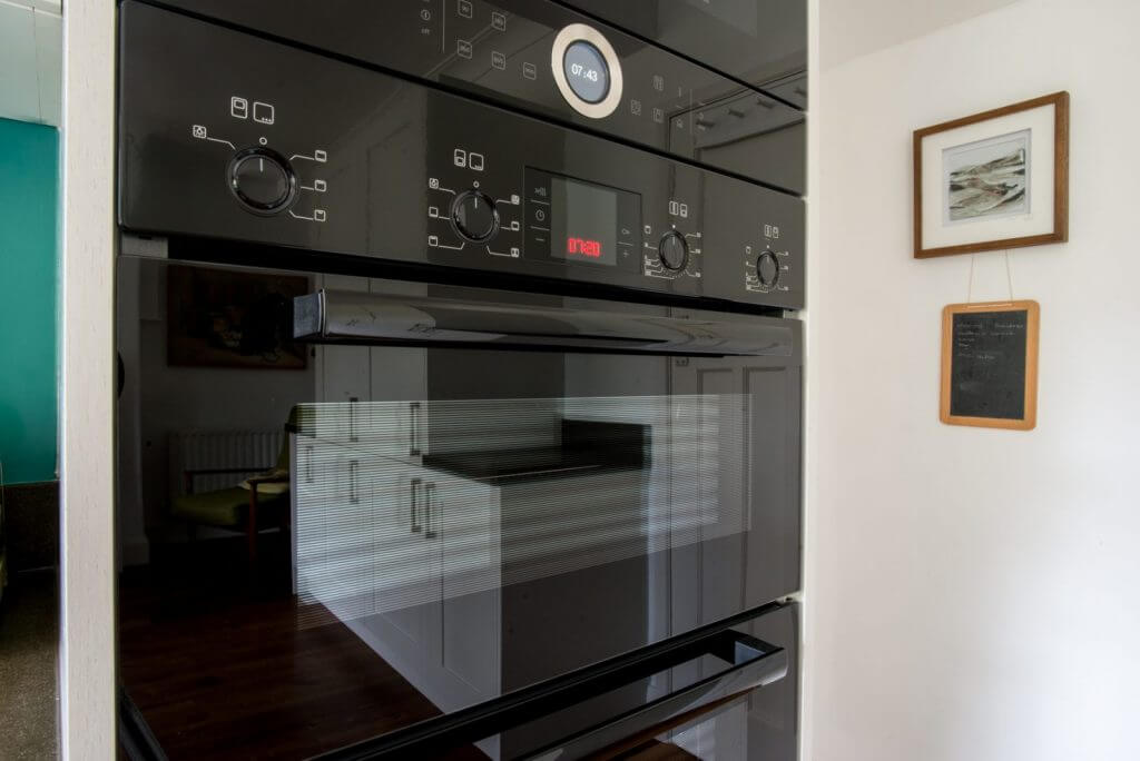 close up of Bosch kitchen oven and controls