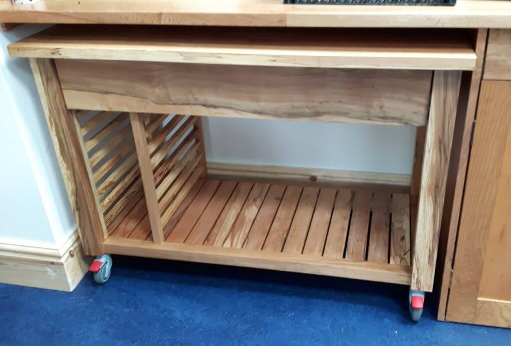 bespoke handmade pullout breadmaking trolley from spalted beech