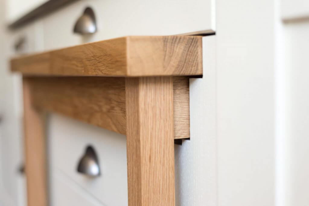 oak kitchen pullout table close up of recess