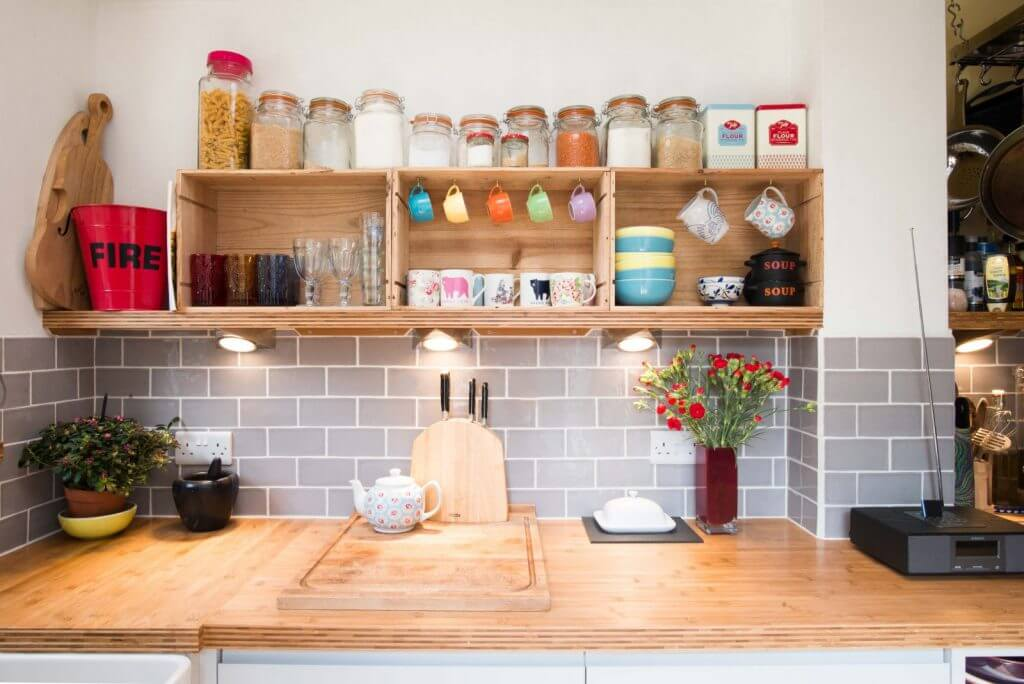 wine box kitchen shelves and bamboo worksurface
