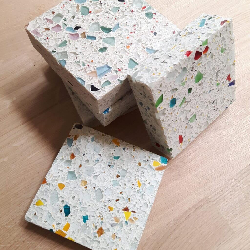 small pile of recycled glass worktop samples