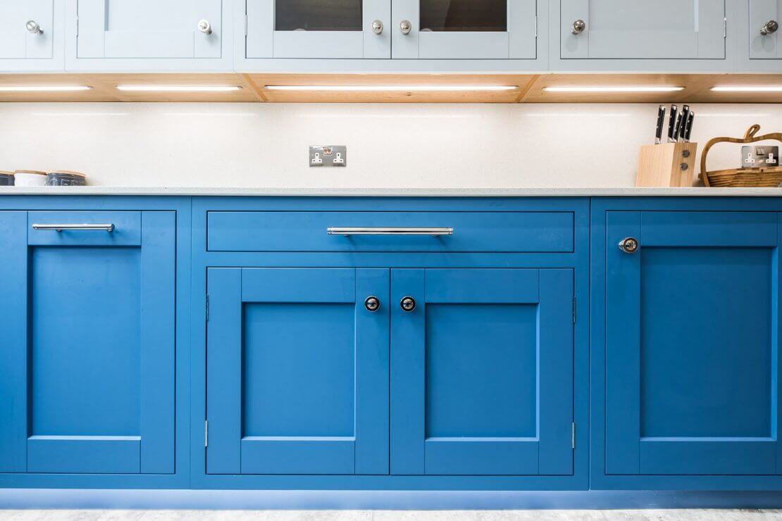 Sheffield Sustainable Kitchens Cool Blue new kitchen with in-frame doors