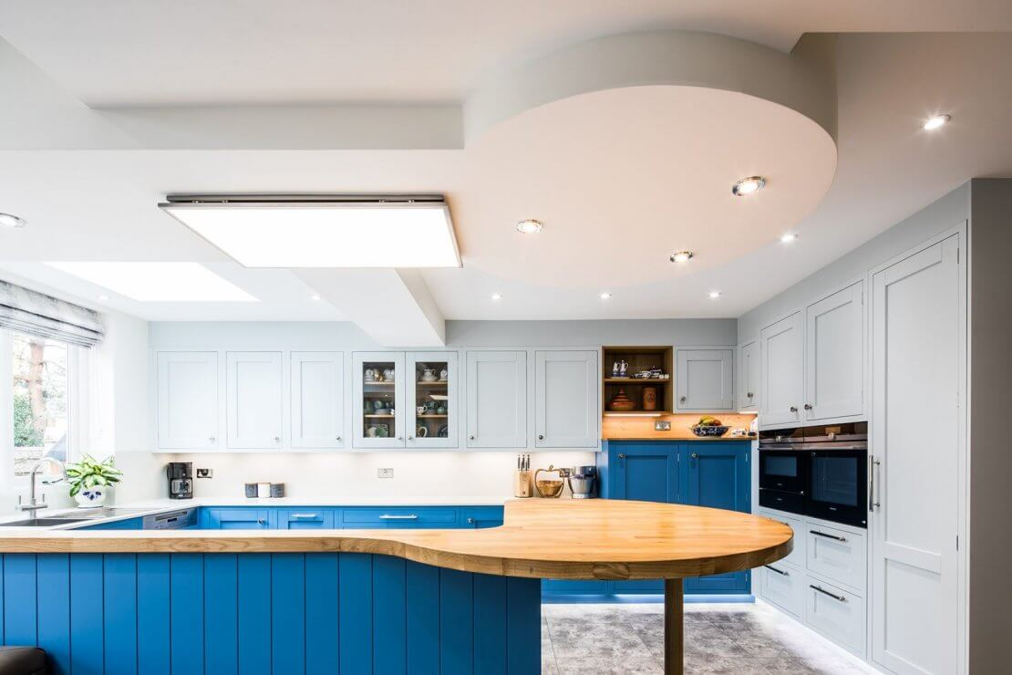 Sheffield Sustainable Kitchens Cool Blue new u-shaped kitchen with inframe doors