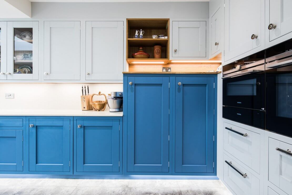 Sheffield Sustainable Kitchens Cool Blue new u-shaped kitchen with in-frame doors