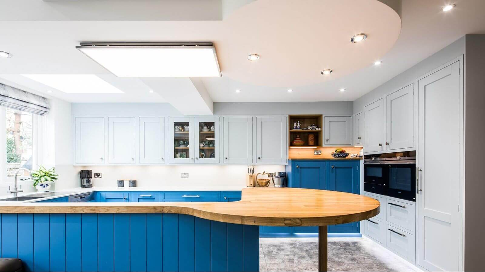 blue in-frame traditiional shaker kitchen