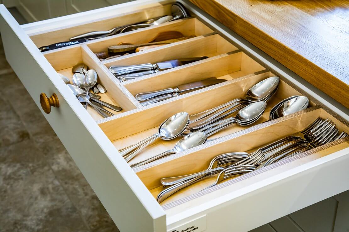 open cutlery drawer with handmade ply cutlery tray