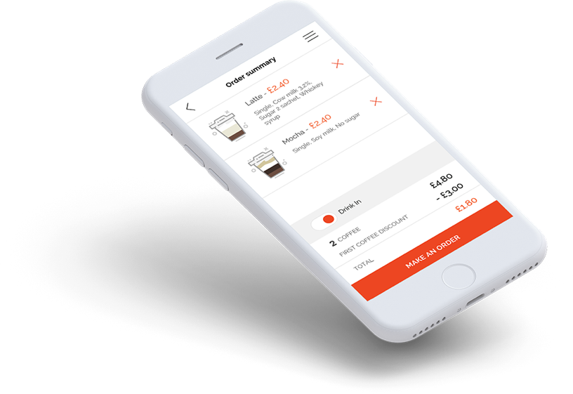 web & mobile (iOS, Android) coffee ordering app