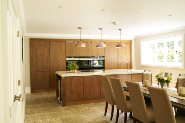 Wooden Kitchen With Marble Island