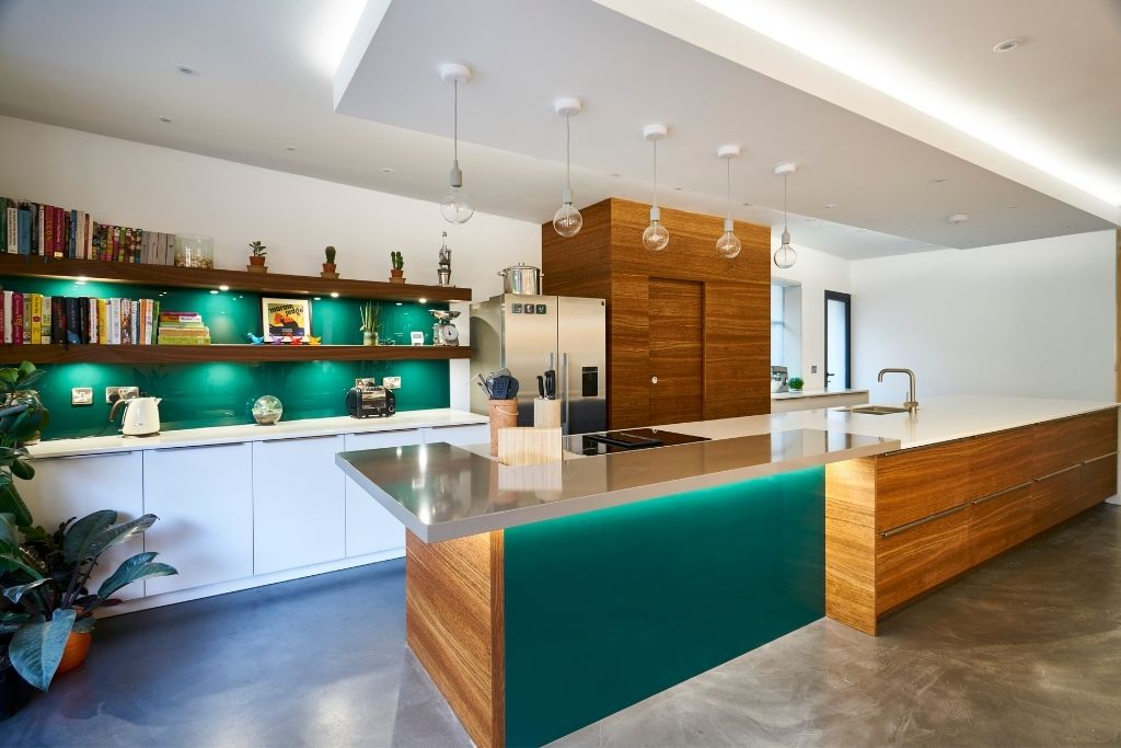 Modern Kitchen With Turquoise Finish