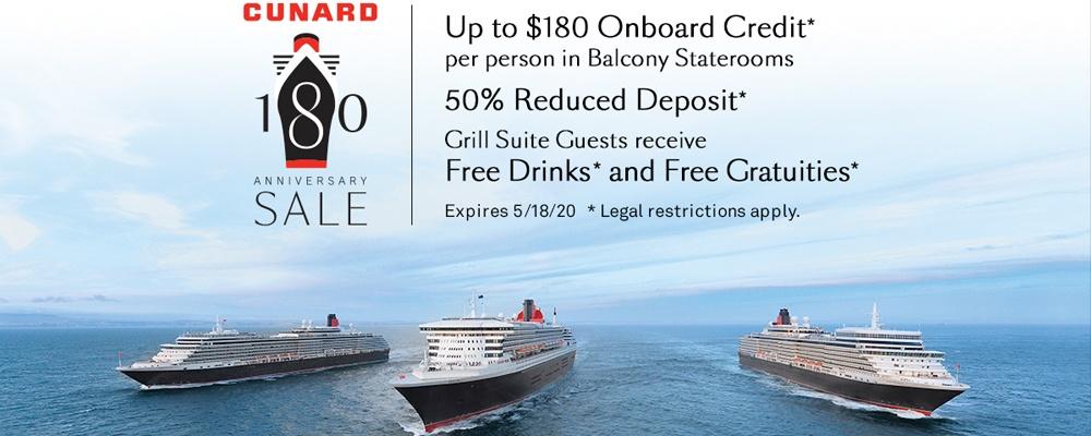 Cunard - 180 Anniversary Sale