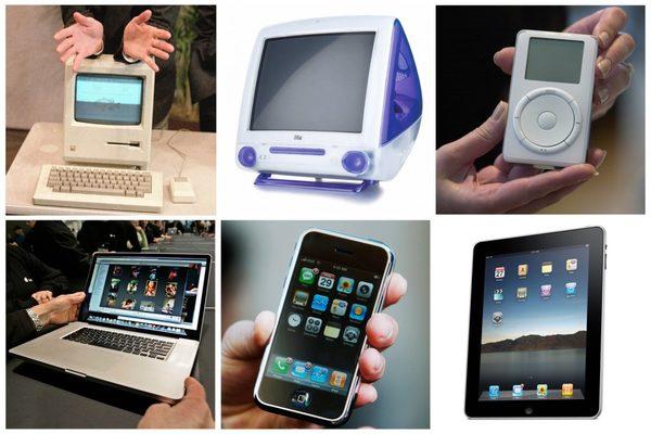 Самые знаменитые продукты Apple, выпущенные во времена Джобса: первые Macintosh, iMac, iPod, MacBook Pro, iPhone и iPad.