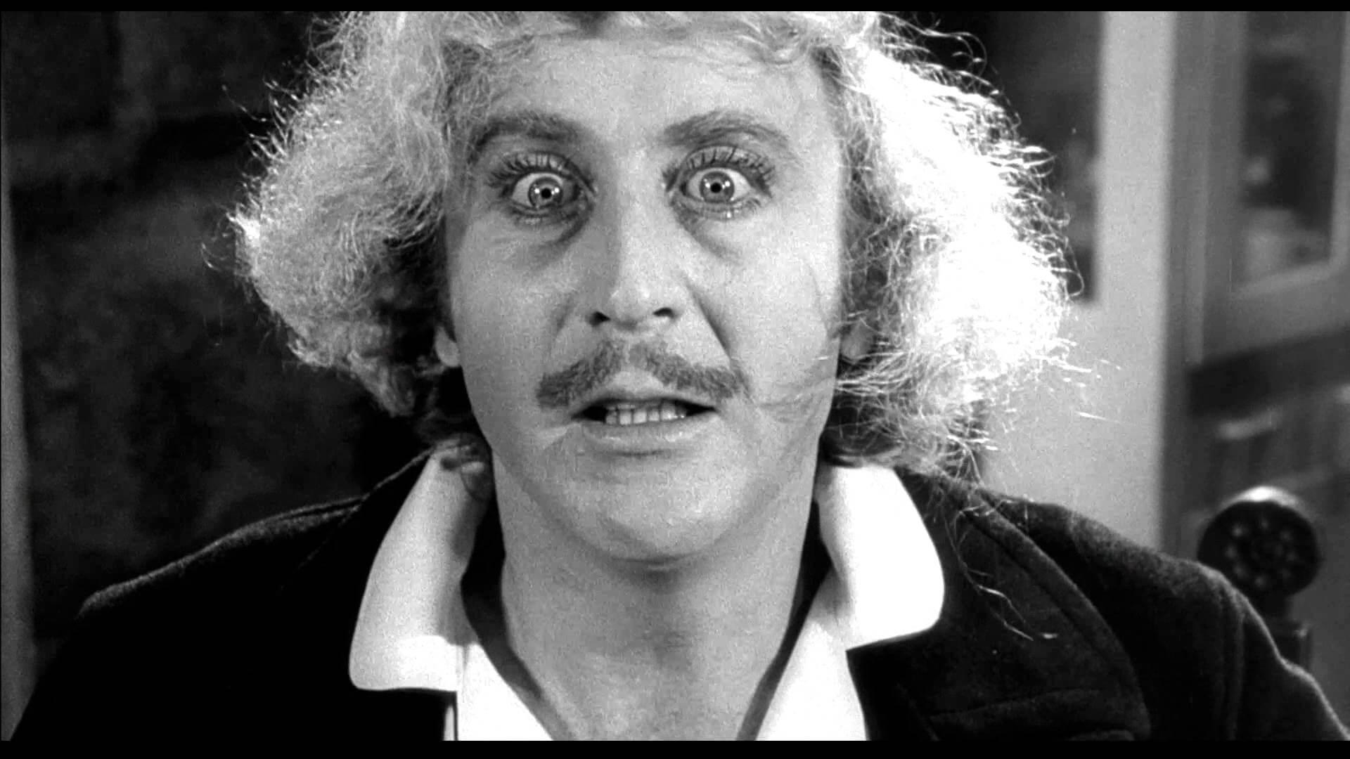 foto in bianco e nero di gene wider, protagonista del fil Frankenstein Junior