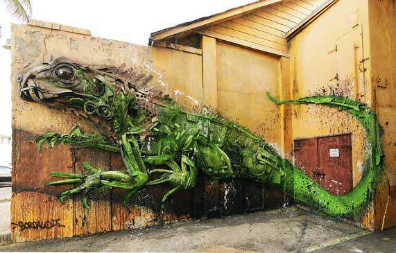 murales iguana | mostra Big Trash Animals