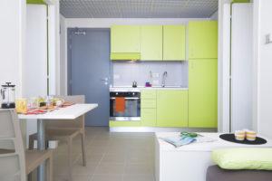 Collegio universitario | camera arredo verde
