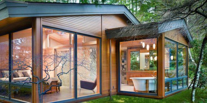 casa in legno Lake Forest Park | Integrazione tra legno antico e nuovo