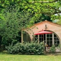 Glicini, ortensie , rose e bouganville nel giardino della casa provenzale