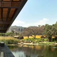 Una lunga piattaforma in legno, adiacente alla casa, consente ai proprietari di godere di uno splendido scenario naturale.