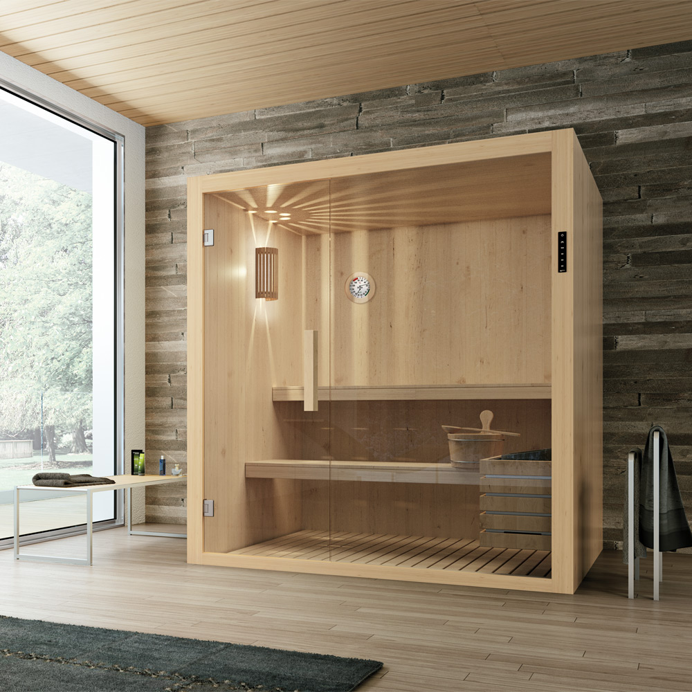lta e di umidit molto bassa provoca unabbondante sudorazione che purifica la pelle e libera le vie aeree lacqua usata per umidificare la cabina sauna