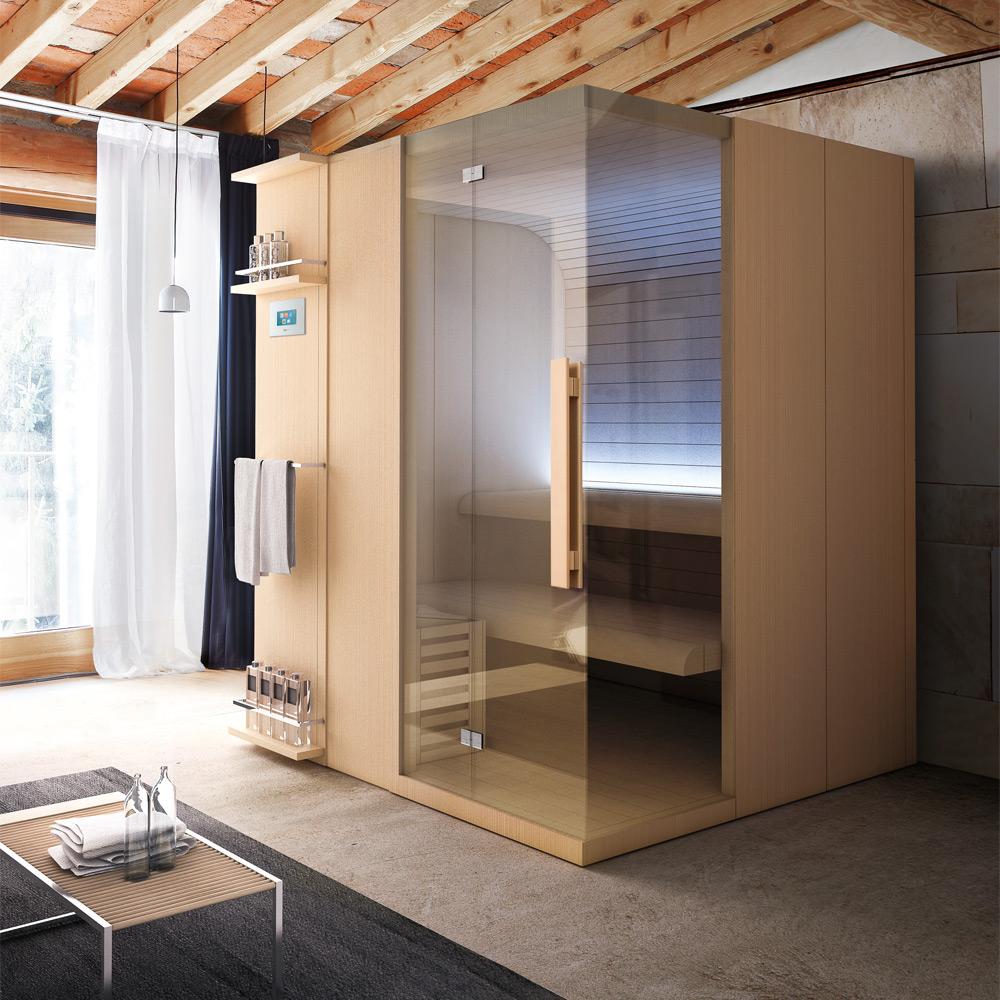 gamma di saune e hammam con un ampio catalogo di accessori e complementi per rendere ancora pi funzionale il bagno turco e la sauna chaise longue