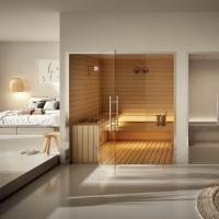 Suite Life, pronta per l'installazione, combina sauna e bagno turco. L'azienda con competenze specializzate (ingegneria, riscaldamento e impianti idraulici, elettrici, elettronici e interior design) offre prodotti di alto livello tecnologico personalizzabili.